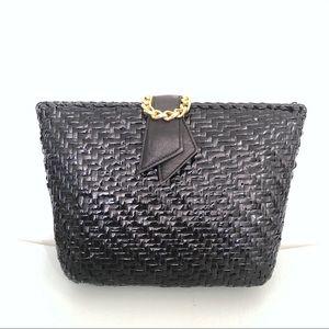 Vintage Woven Rattan Wicker Clutch / Shoulder Bag